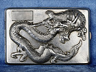 Antique Chinese Export Dragon Silver Cigarette Case by Nanking Store