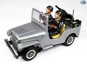 1950's Japanese Silver Tin Metal Battery Operated Jeep Army Operator