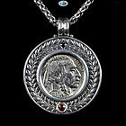US Indian Buffalo Nickel 1937 Custom Made Pendant, Frame, Chain, Ruby