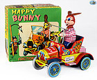 "Yonezawa Japan 1957 Tin Toy ""Happy Bunny"" Friction Powered Rabbit Car"