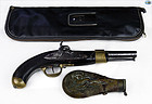 Antique Set of Pistol and Gun Powder Flask with Case Circa 1800