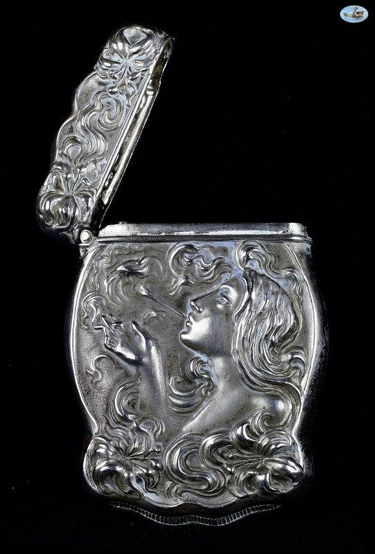 European Silver Match Safe .830 Lady Smoking - Late 19th Century