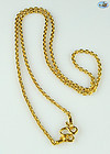 "Vintage T Chain Custom Made Necklace in 24K Gold-44.86 Grams, 25"" Long"