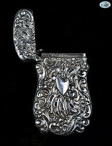 Antique 1860 Silver Repoussé Match Safe with Shield