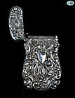 Antique Sterling Silver Repoussé Match Safe with Shield, 1860