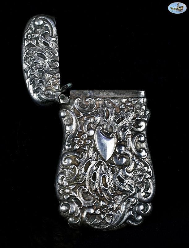 Antique Sterling Silver Repoussé Match Safe with Shield, 1860