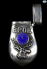 Antique 1899 BPOE Elks Lodge Sterling Silver & Enamel Match Safe
