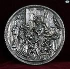 Henryk Winograd .999 Silver Repoussé Round Plaque, Family Scene