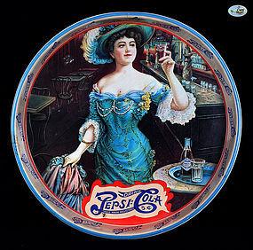 """Pepsi-Cola Gibson Girl - """"Drink Pepsi-Cola 5 C"""" Round Tin Tray"""