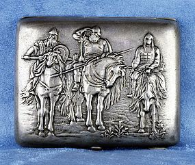 Russian Silver 190 Cigarette Case with Soldiers on Horses- Early 1900