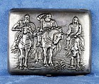 Russian Silver 190 Cigarette Case with Soldiers on Horses - Early 1900