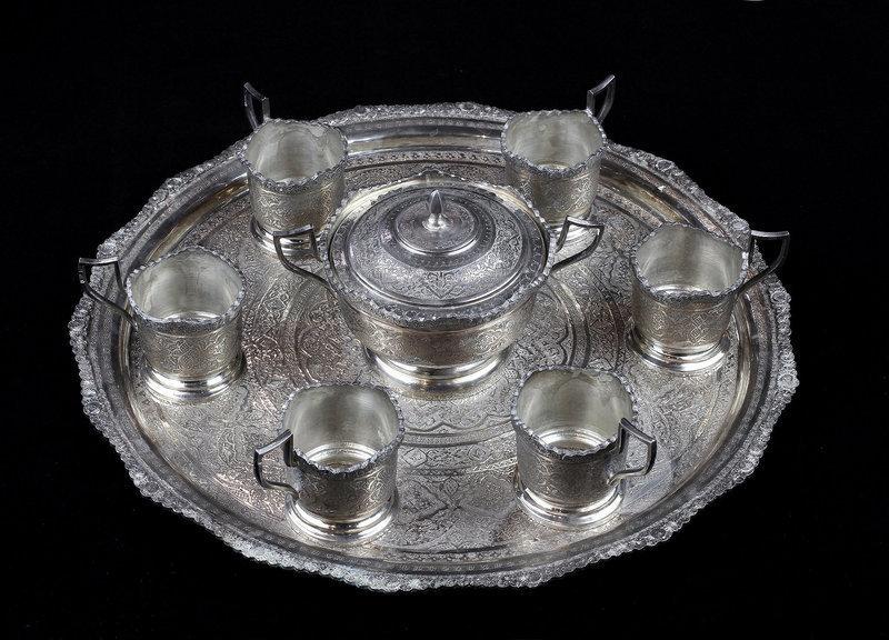 Antique 6 Piece Silver Tea Set - Isfahan - Iran - 84 zol - 1660 grams