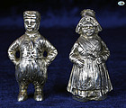 Antique 800 Silver Pair Dutch Girl & Boy Salt & Pepper Shakers Statues