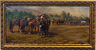 19th C. Antique Signed Oil Painting Military Cavalry Soldiers & Horses