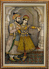 Late 19th C. Large Miniature Painting of Shah Jahan & Mumtaz Mahal