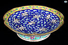 Antique Chinese Porcelain Raised Bowl with Chinese Birds-1800