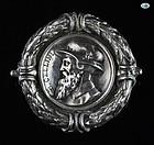 Antique Victorian Italian B. Cellini Silver Pin Brooch, 1880 - 1900