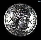 American 1904 Malliet Silver Dollar Pop Out Punched Pressed 3 D Brooch
