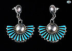 Custom Made American Indian Pair of Silver and Turquoise Earrings - 19