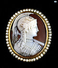 Fine Victorian 18 Karat Gold and Pearl Shell Cameo Brooch Athena