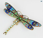 50's Plique-à-jour Multicolor Dragonfly 18 karat Gold Brooch