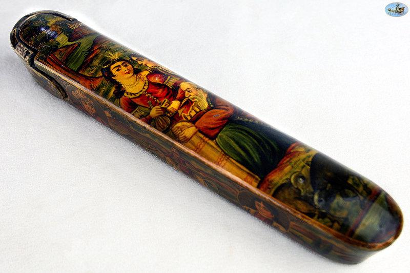 Qajar Persian Polychrome Lacquer Papier Mache Scribe Box Qalamdan