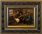 European Circa 1900 Oil Painting on Wood Five Men & Daily Newspaper
