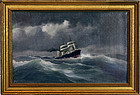 "Antique Maritime Oil Painting Steamship Sailing & Storm 11.75"" x 18.25"