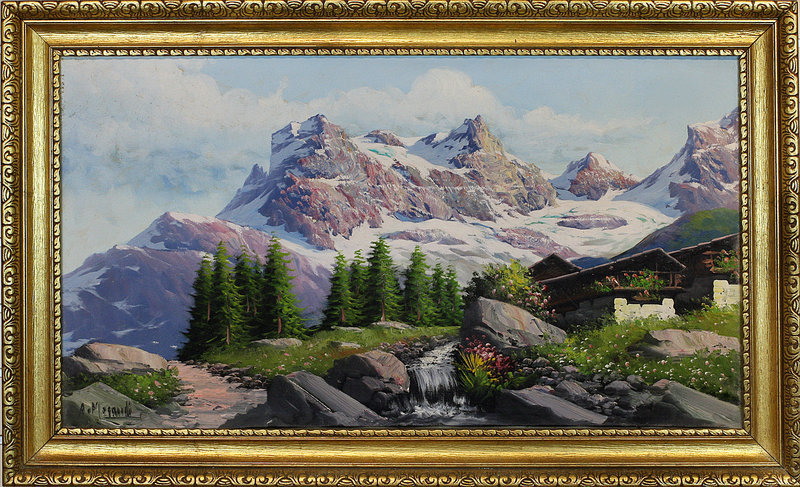 """Swiss Alps Mountains Oil on Canvas Painting Vintage 22"""" x 36"""""""