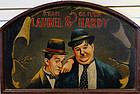 "Rare Vintage Laurel and Hardy Oil on Wood Painting 24"" x 36"""