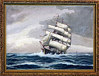 Original J. Winfried Seascape Three-Masted Clipper Ship Oil Painting