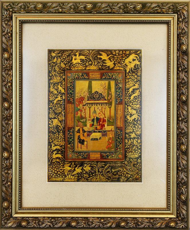 Persian Miniature Painting Kazem Shahbazi Safavid Style 59cm x 49cm
