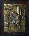 Belgian High Relief Brass Plaque of Flanders Men Playing Music c. 1850
