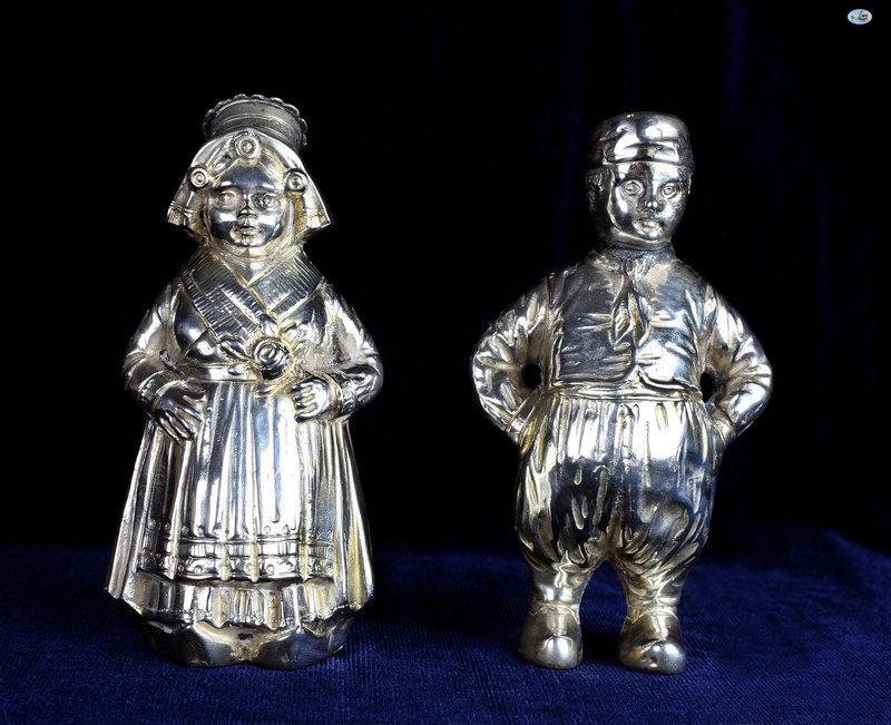 Antique 800 Silver Pair Dutch Girl & Boy Salt & Pepper Shakers Statues