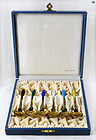 Set of 6 Vintage Norwegian Silver & Gilt & Enamel Teaspoons 1800