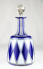 Marvelous 19th Century Blue and White Bohemian Glass Decanter with Sto
