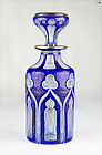 19 Century Bohemian Glass White, Gold, Blue Cased Decanter with Stoppe