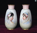 1890 Antique Signed Pair of Josef Ahne Painted Bohemian Vase