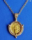 Original Byzantine Empire Gold Coin Heraclius Custom Made 14K Pendant