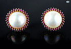 Gorgeous Set of Pearl and Ruby Earrings in 14 Karat Yellow Gold