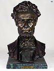 Antique Bronze Bust of Abraham Lincoln-Marble Base by Geo. E. Bissel