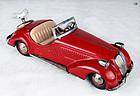 1950s German Distler Wind-up Tin Toy Red Wanderer Convertible with Key