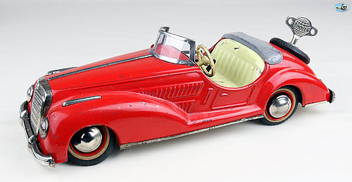 1950s German Distler Wind-up Toy Red Mercedes Benz Convertible w/ Key