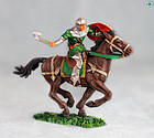 Excellent Vintage Elastolin Mounted Norman Lancer with Ax on Horse