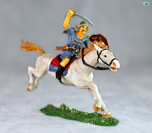 Excellent Vintage Elastolin Mounted Mongol Cavalry on White Horse