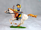 Excellent Vintage Elastolin Mounted Mongol Archer on White Horse
