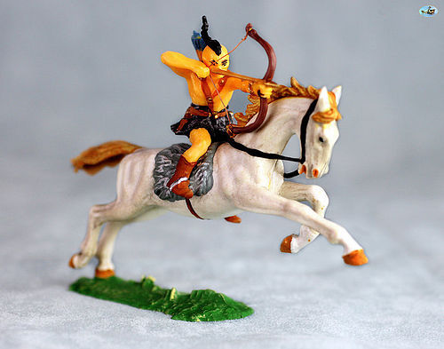 Excellent Vintage Elastolin Mounted Mongol Archer in Action