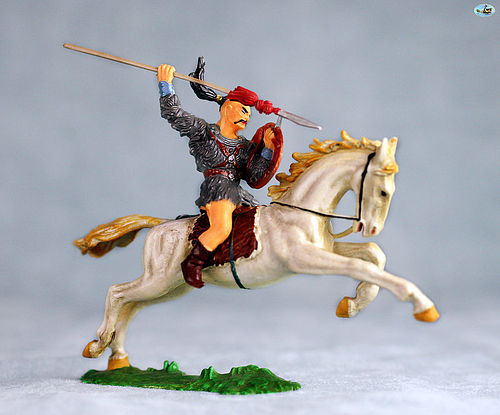 Vintage Elastolin Mounted Mongol Cavalry with Arrow in Action