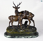 Alfred Dubucand Patinated Bronze Figural Group of Two Deers on Marble