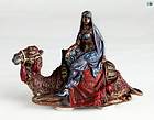 Antique Bronze Cold Painted Statue of Middle Eastern Lady on Camel